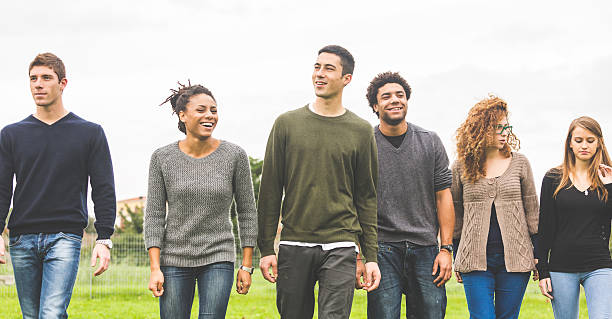 A group of multiethnic people walking together in a field stock photo