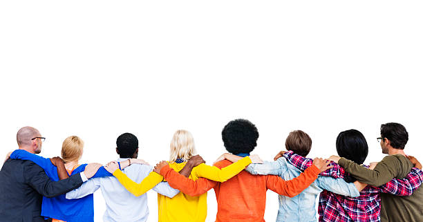 Group Of Multi-Ethnic People's Hands On Each Other's Shoulder An stock photo