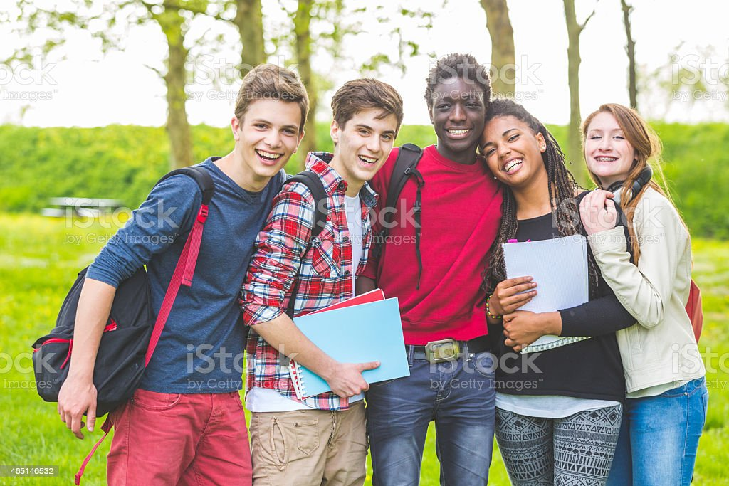 Group of multiethnic teenage students embraced together at park. stock photo