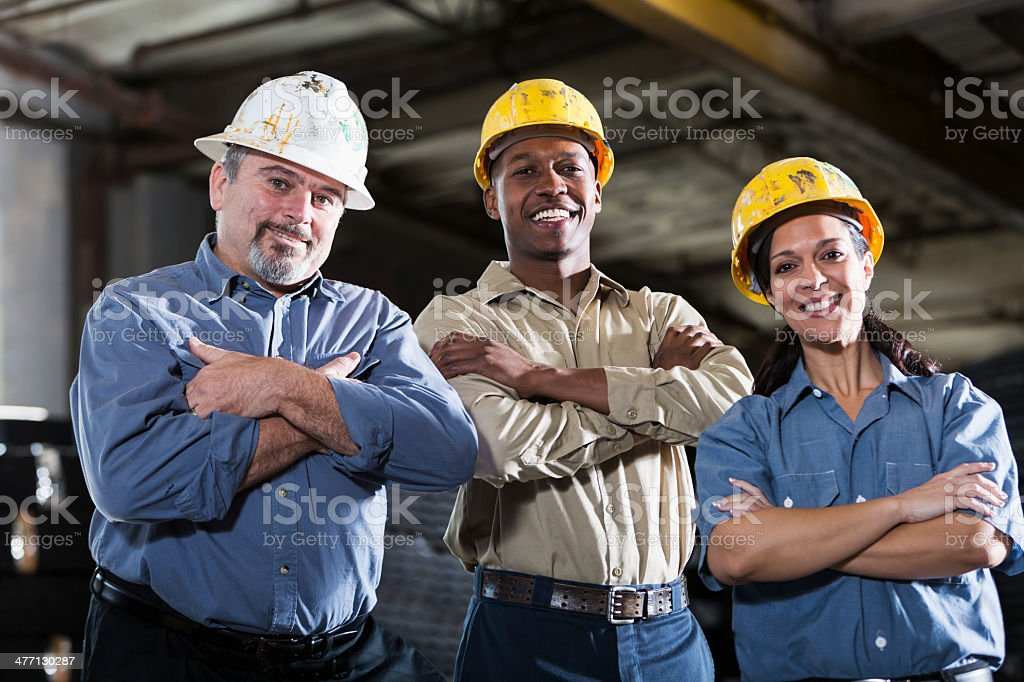 Group of multi-ethnic workers stock photo