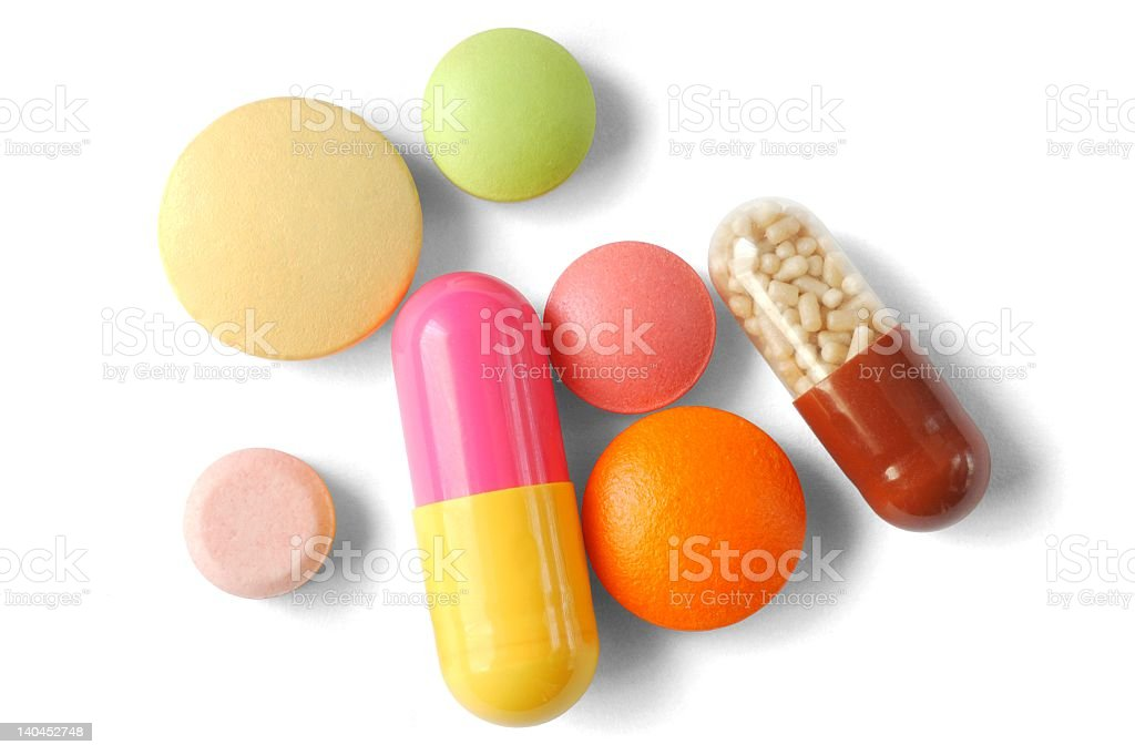 Group of multiple pills isolated on white background stock photo