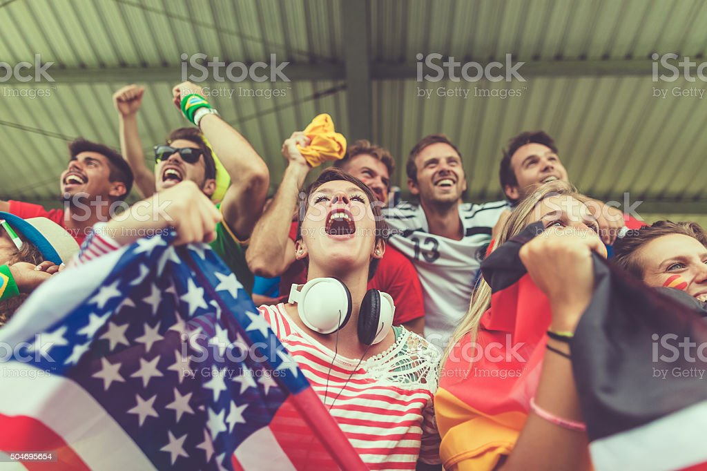 Group of multiracial nations supporters together royalty-free stock photo