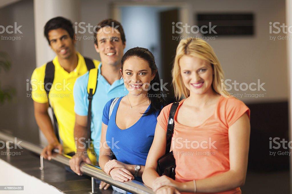 group of multiracial university students stock photo