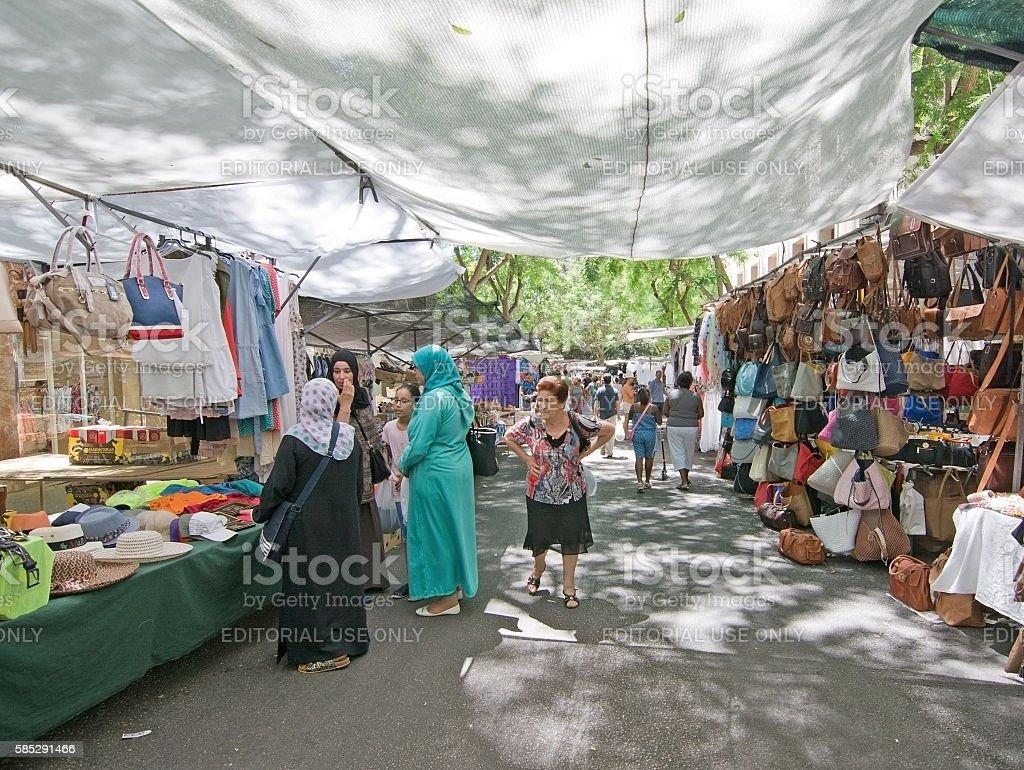 Group of muslim women in Manacor stock photo