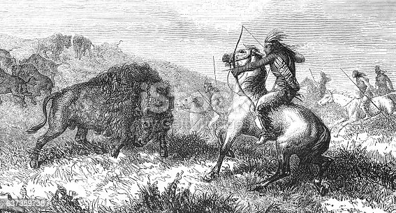 istock Group of native americans hunting buffalo 1868 637359738