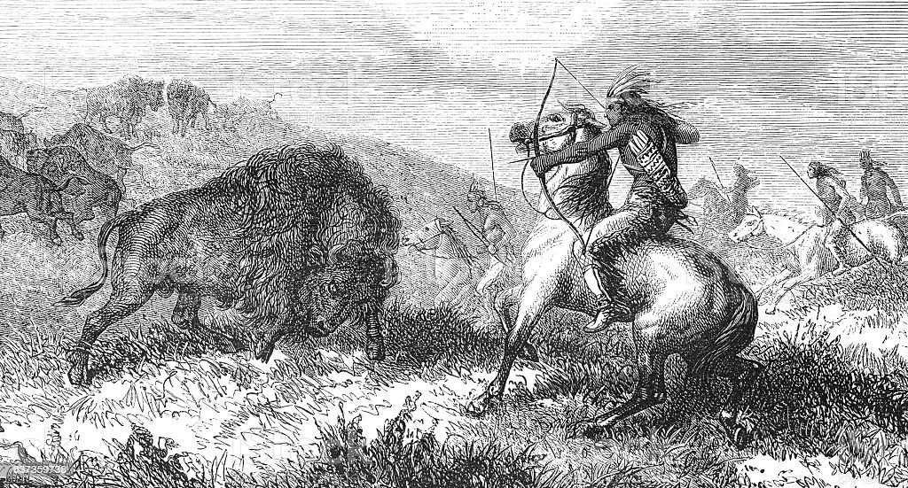 Group of native americans hunting buffalo 1868 stock photo