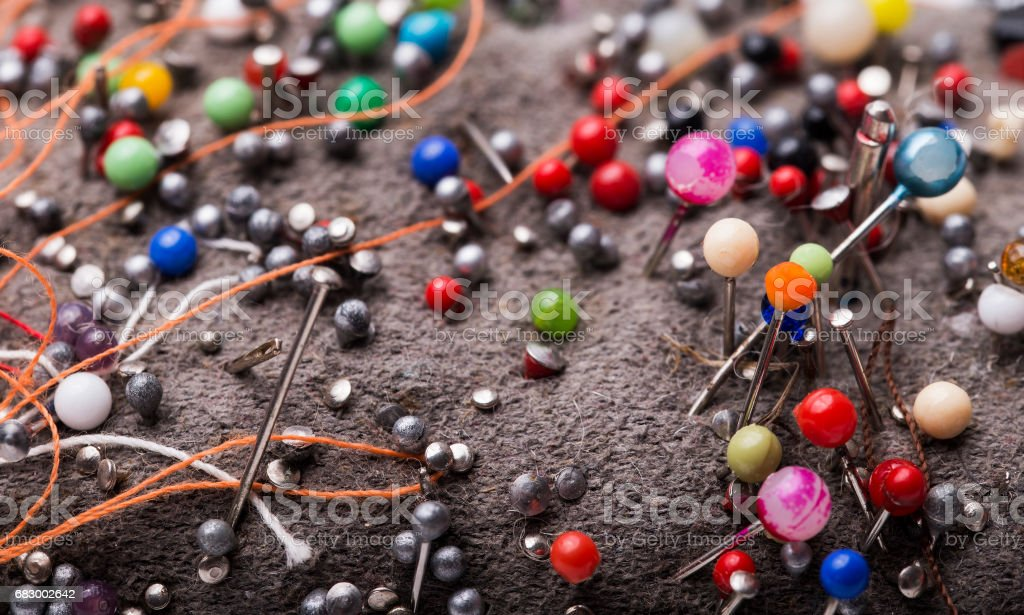 Group of needles for sewing close up royalty-free stock photo