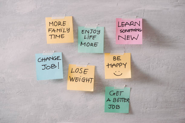 group of new year resolution notes on pink, yellow, orange and green on wall written with message of diet, join gym, find love and be happy - post it notes zdjęcia i obrazy z banku zdjęć