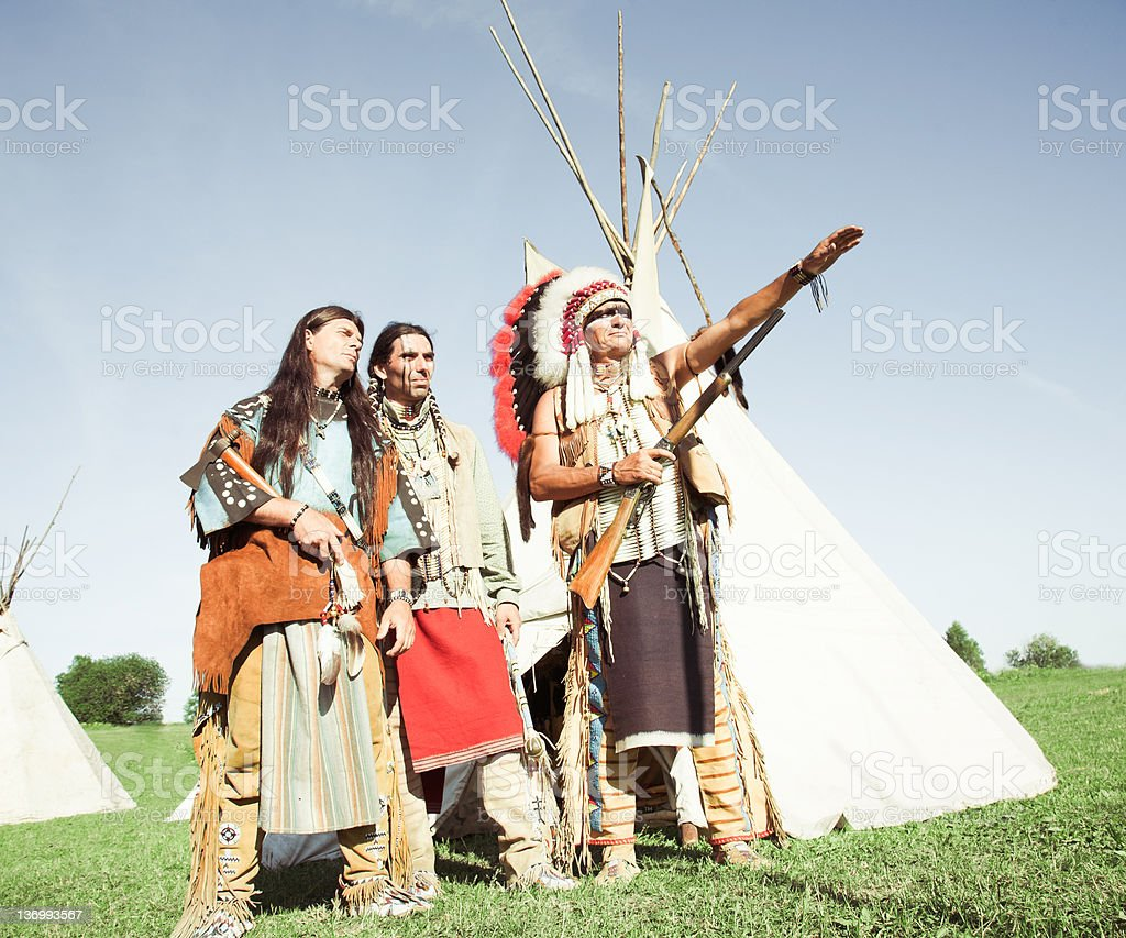 Group of North American Indians royalty-free stock photo