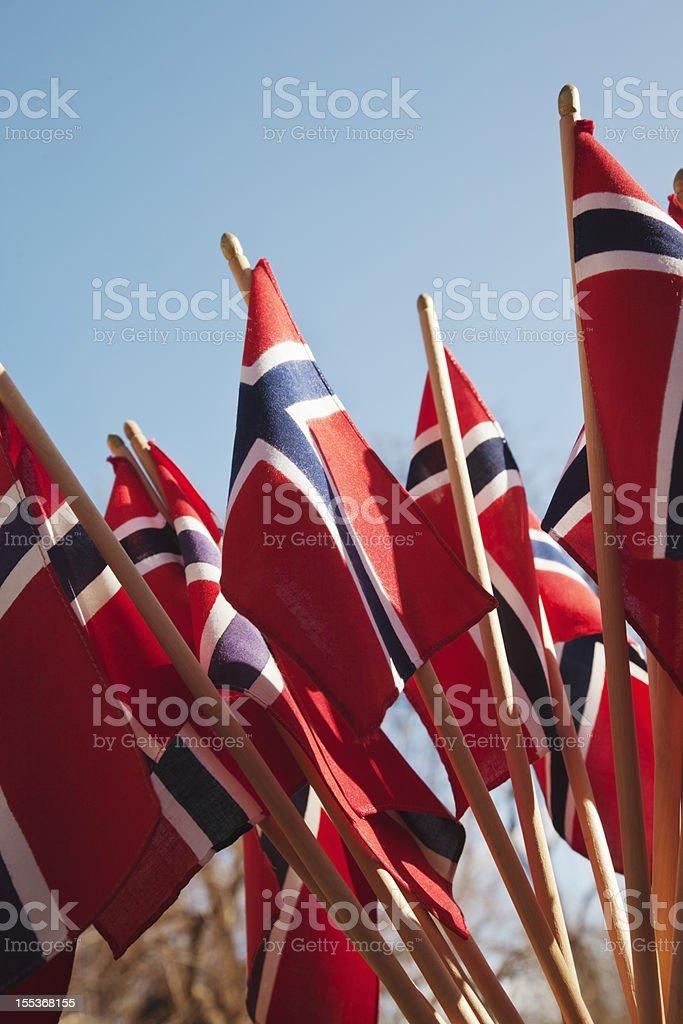 Grupo de Bandeira da Noruega em vermelho branco e azul. - fotografia de stock