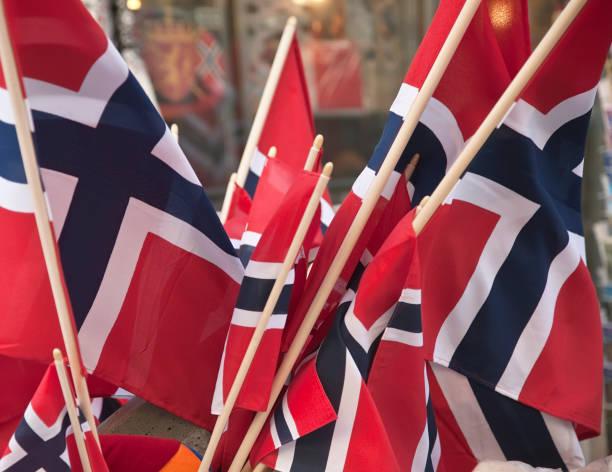 group of norwegian flag in red white and blue. - noorse vlag stockfoto's en -beelden