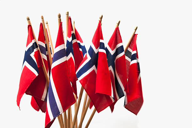 group of norwegian flags in red white and blue. - noorse vlag stockfoto's en -beelden
