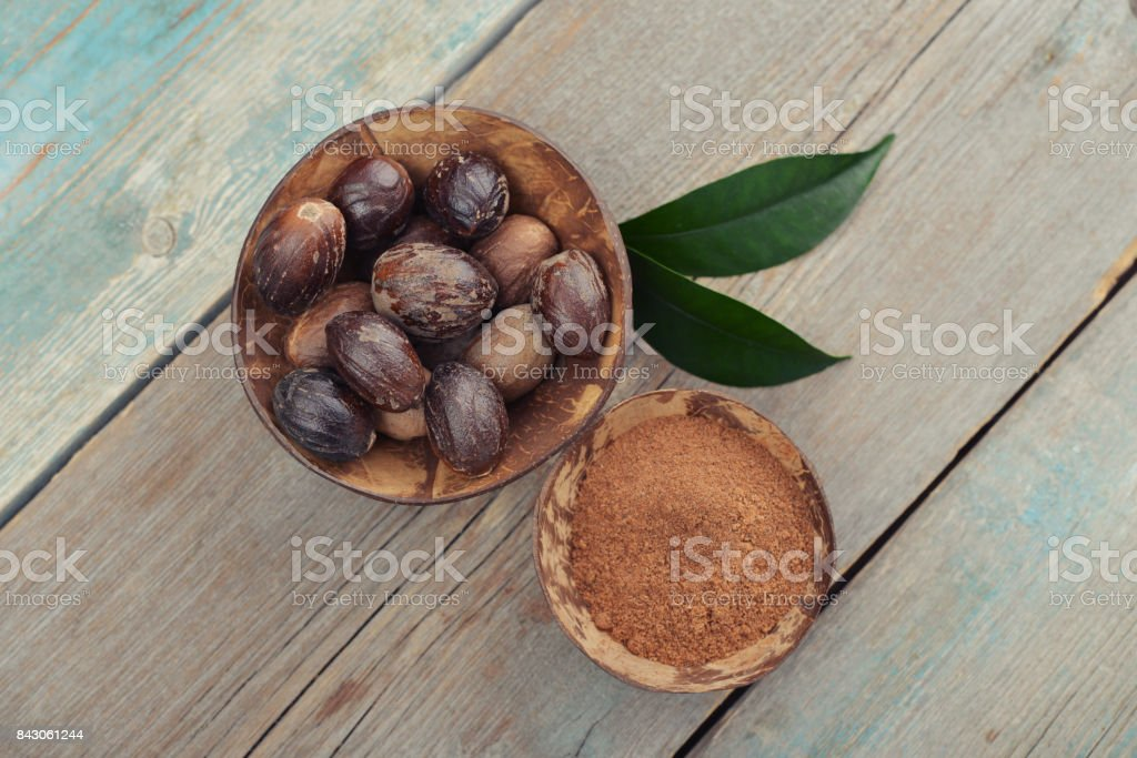 Group of nutmegs stock photo