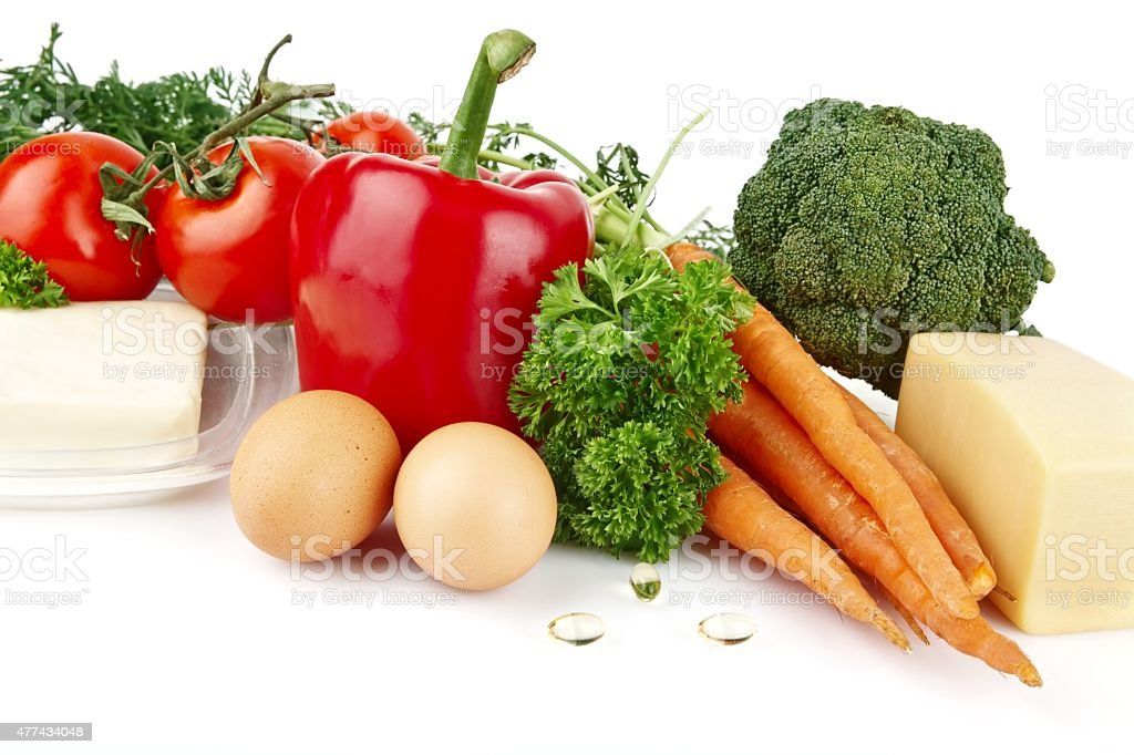 Group of nutrients full of vitamin A stock photo