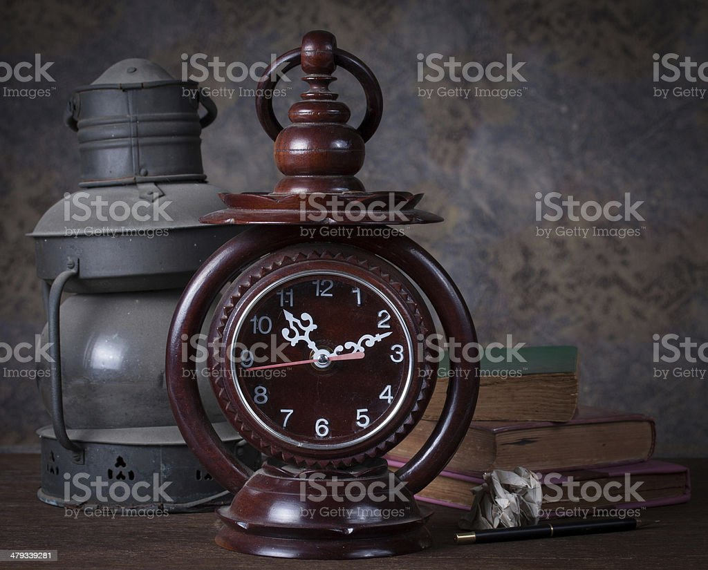 Group of objects on wood table. royalty-free stock photo