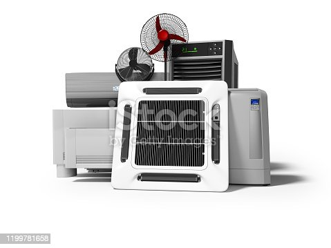 177118473 istock photo Group of office cooling equipment air conditioning fan 3d render on white background with shadow 1199781658