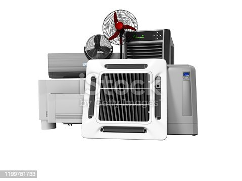 177118473 istock photo Group of office cooling equipment air conditioning fan 3d render on white background no shadow 1199781733