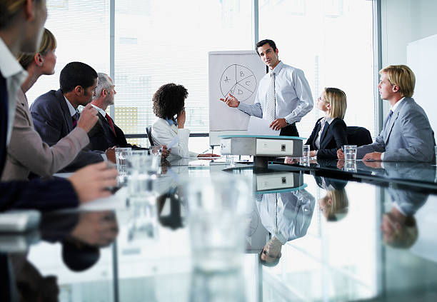 Group of office workers in a boardroom presentation  flipchart stock pictures, royalty-free photos & images