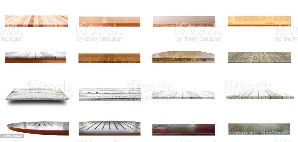 Gruppe der alten und neuen hölzernen Tischplatte – Foto