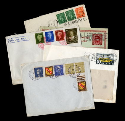 Group of old European postal items