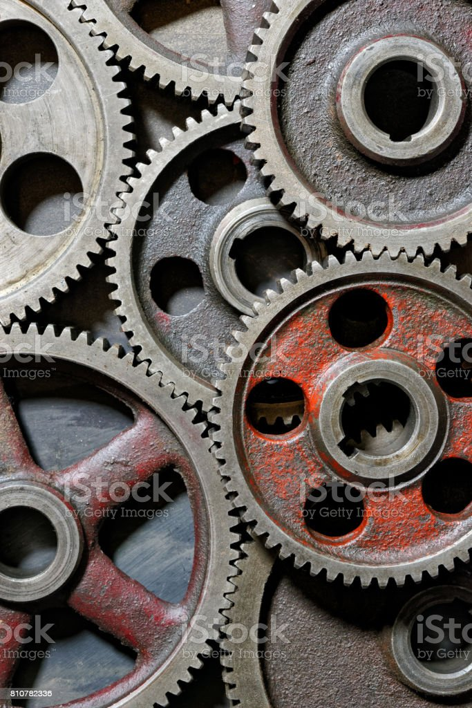 Group of old steel cogwheels royalty-free stock photo