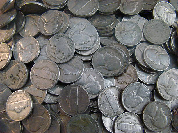 group of old united states nickels - nickel stock photos and pictures