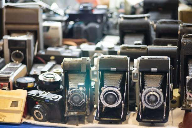 group of old vintage photo camera set - seitas imagens e fotografias de stock