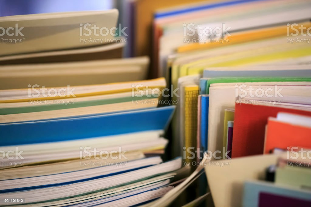 Group of older books n a book store stock photo