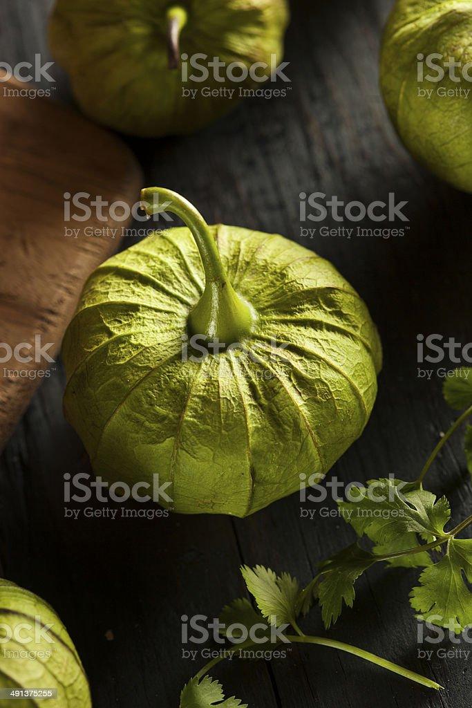 Group of Organic Green Tomatillos stock photo