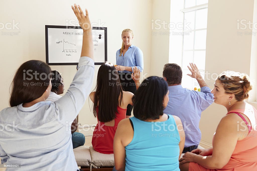 Group Of Overweight People Attending Diet Club stock photo