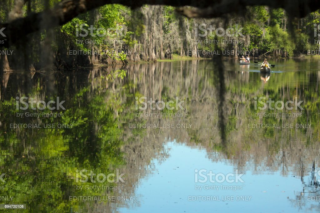 Group of paddlers canoeing on Shingle Creek in Kissimmee, Florida. stock photo