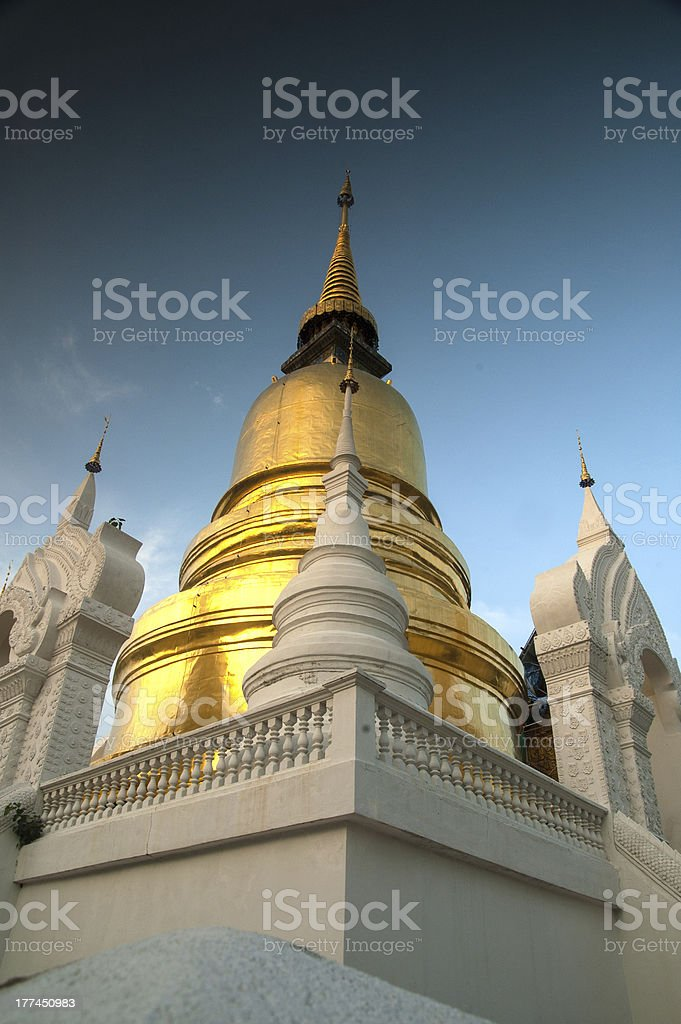 Group of pagoda in Wat Suan Dok royalty-free stock photo