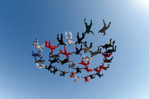 A group of parachutists jumping from parachute on June 26, 2018 in São Paulo, Brazil stock photo