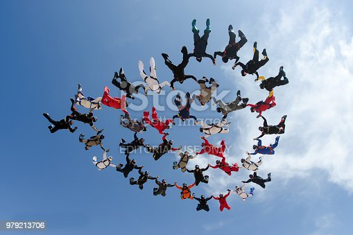 A group of parachutists making a formation on April 23, 2012 in Eloy, Arizona, USA.