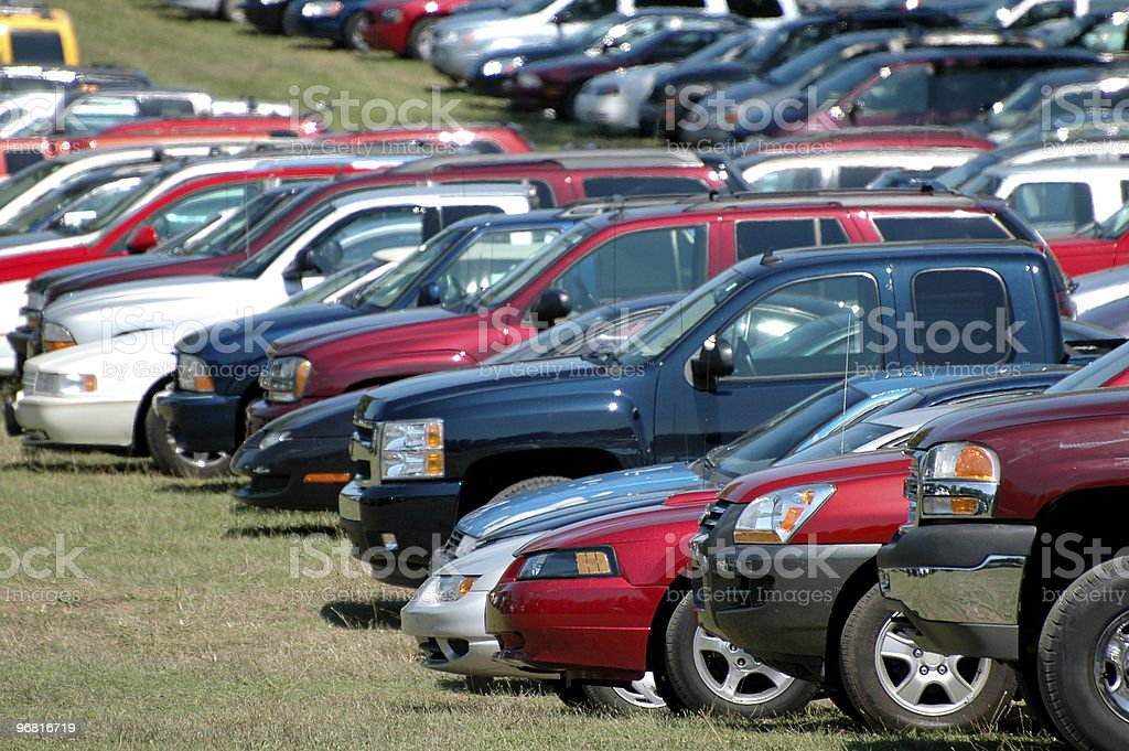 Group of parked cars royalty-free stock photo