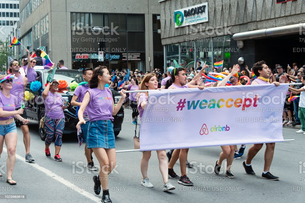 Group of participants of LGBTQ Pride Parade in Montreal. stock photo