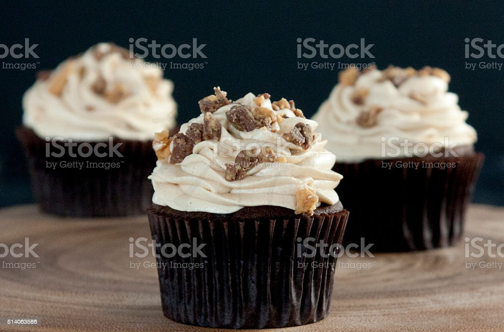 Group of Peanut Butter Cup Cupcakes stock photo