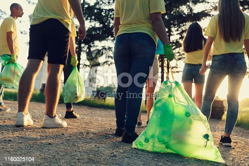 istock Group of People Against Plastic Waste and Littering 1160025104