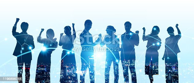 istock Group of people and communication network concept. Human resources. Teamwork of business. Partnership. 1196898744