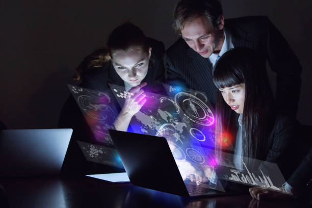 group of people and futuristic gui. - hud graphical user interface stock pictures, royalty-free photos & images