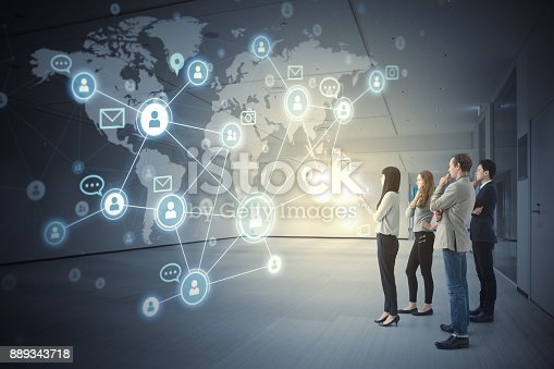 847519080 istock photo Group of people and global communication network concept. 889343718