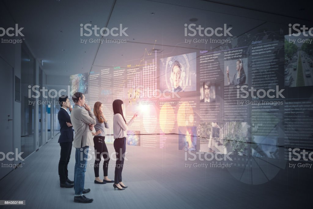 Group of people and information communication technology concept. stock photo