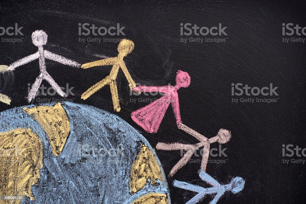 Group of people around the world stock photo