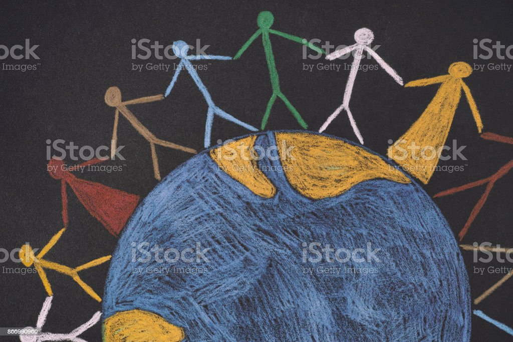 Group of people around the world royalty-free stock photo