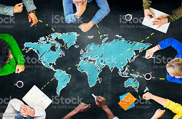 Group Of People Blackboard Global Communications Concept Stock Photo - Download Image Now