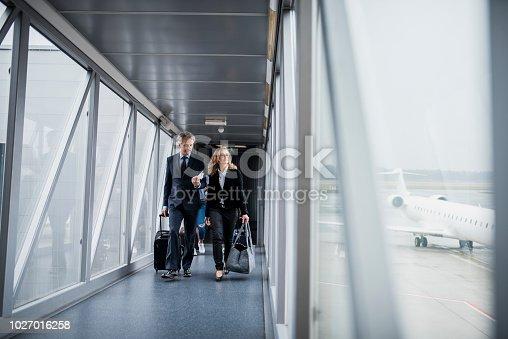 Group of people boarding a plane through passenger boarding bridge