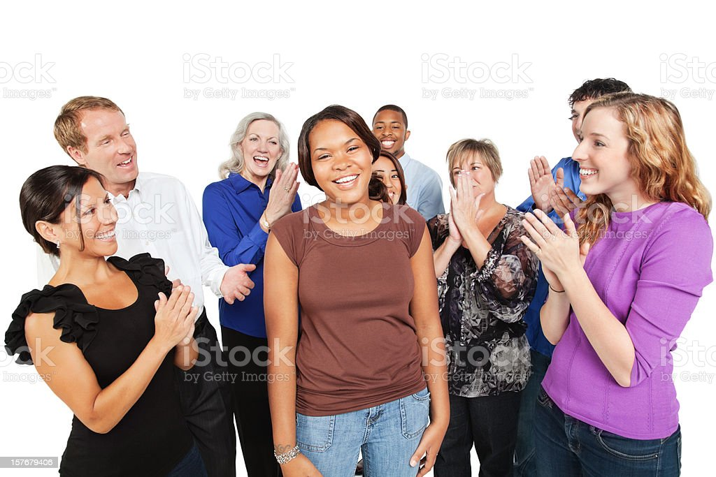Group of People Cheering For a Friend royalty-free stock photo