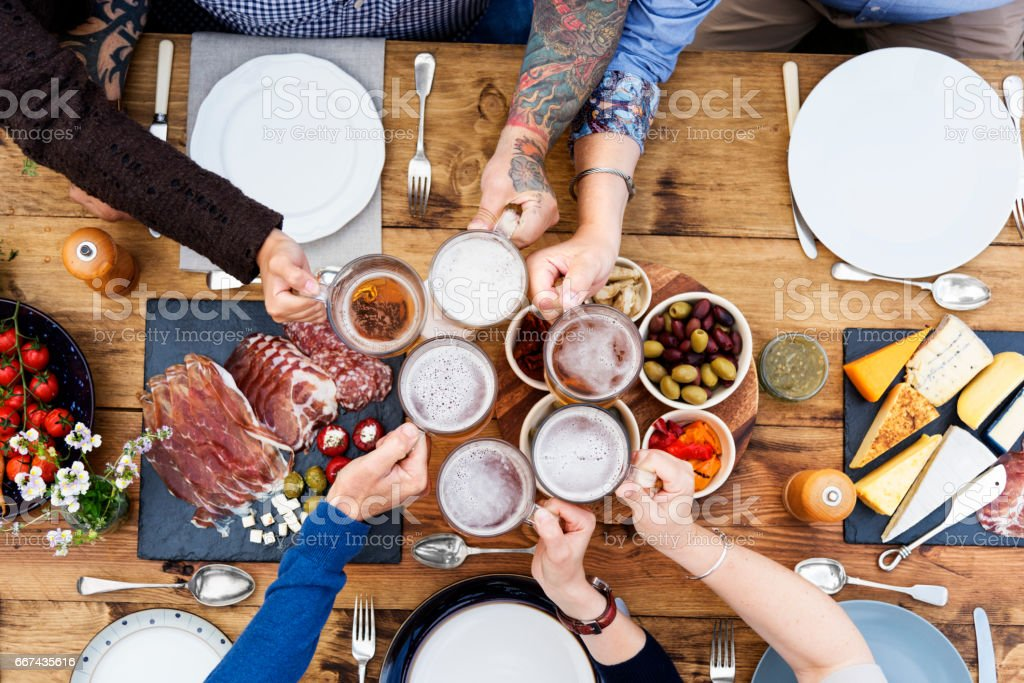 Group Of People Cheers Concept stock photo