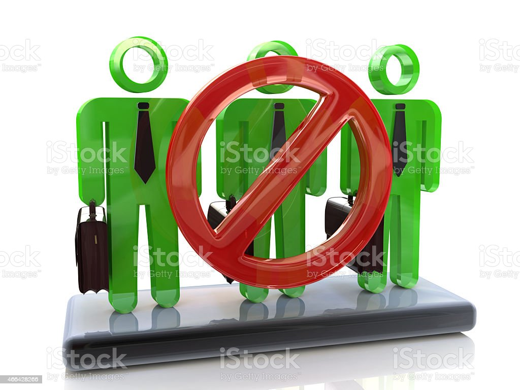 3D Group of people - concept of dismissal of workers stock photo