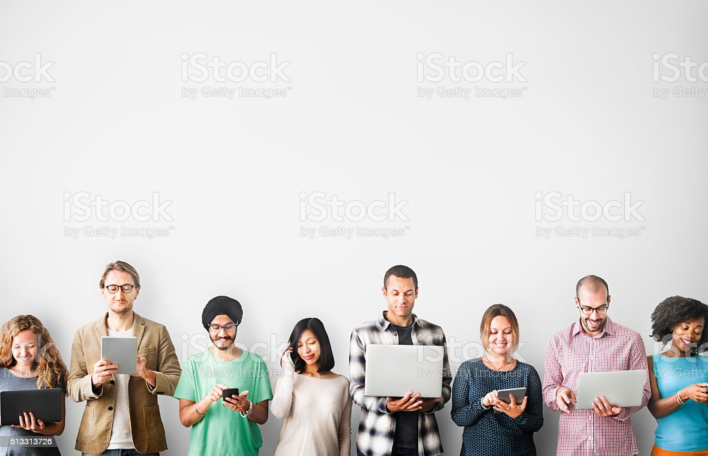 Group of People Connection Digital Device Concept bildbanksfoto